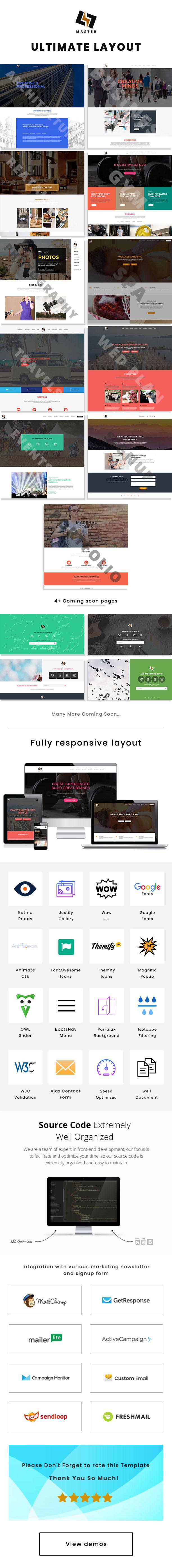 Master -  Responsive & MultiPurpose Onepage Templates - 4